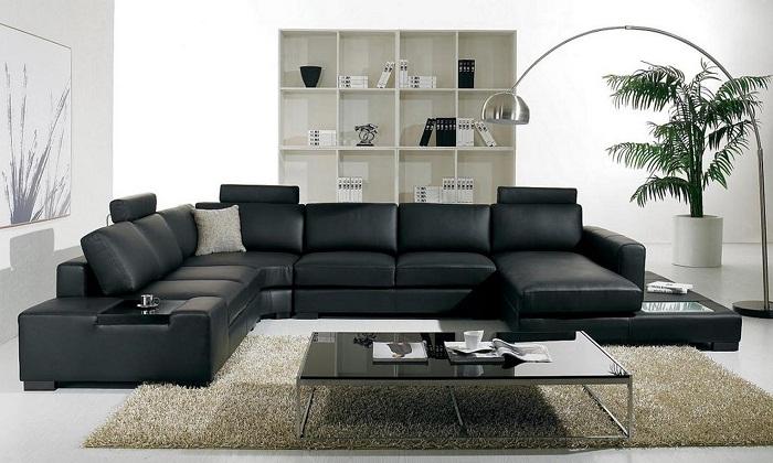 Elegant Leather Living Room Furniture