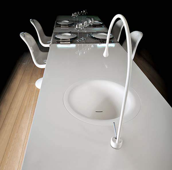 The Goccia Dining table with integrated faucet
