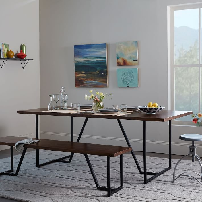 Long Narrow Dining Table and Bench
