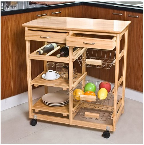 Kitchen Carts on Wheels - SoBuy Wooden Kitchen Trolley with Shelves & Drawers