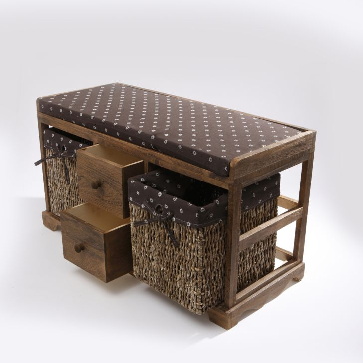 Wicker Bathroom Furniture Bench with Drawer