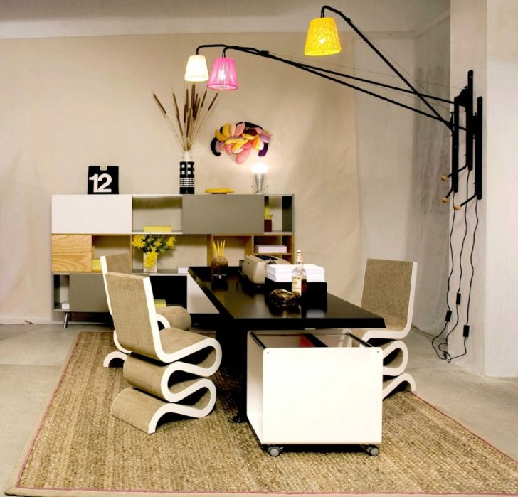 Home Office Lighting with Cute Lamps and Curving Chairs