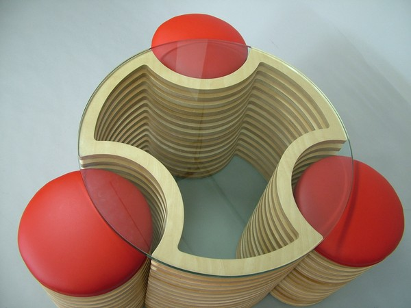 Coffee Table with Integrated Stools