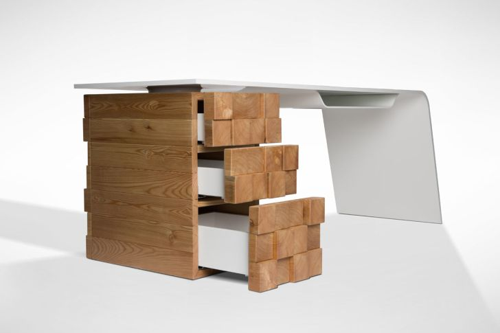 High Tech Office Desk Katedra with Drawers by Desnahemisfera