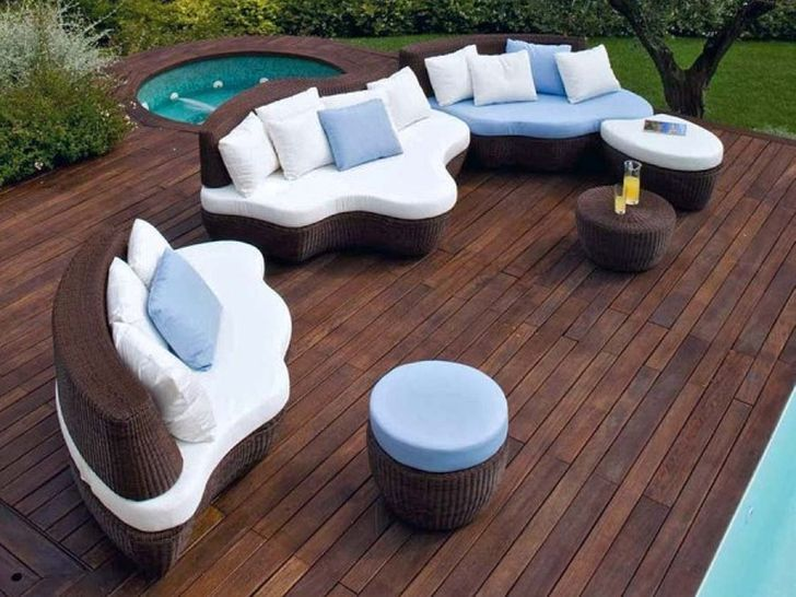 Modern Outdoor Wicker Furniture Large with Small Pool