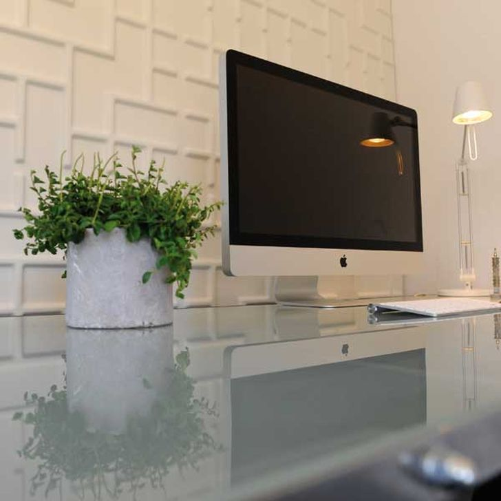 3d Decorative Wall Panels 3d Tetris Wall Panels behind TV with Table Lamps and White Vase Plants