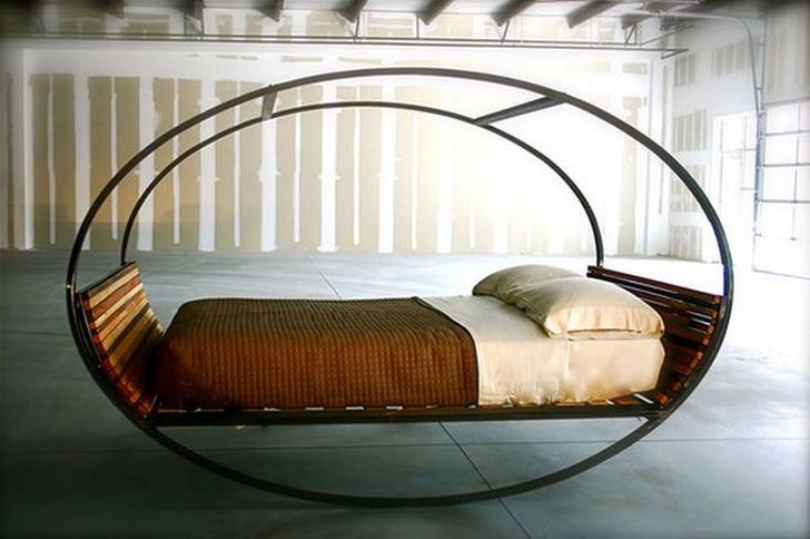Mood Rocking Bed Carbon Steel Frame Rocking Bed and Wood Base Finish with White Pillow