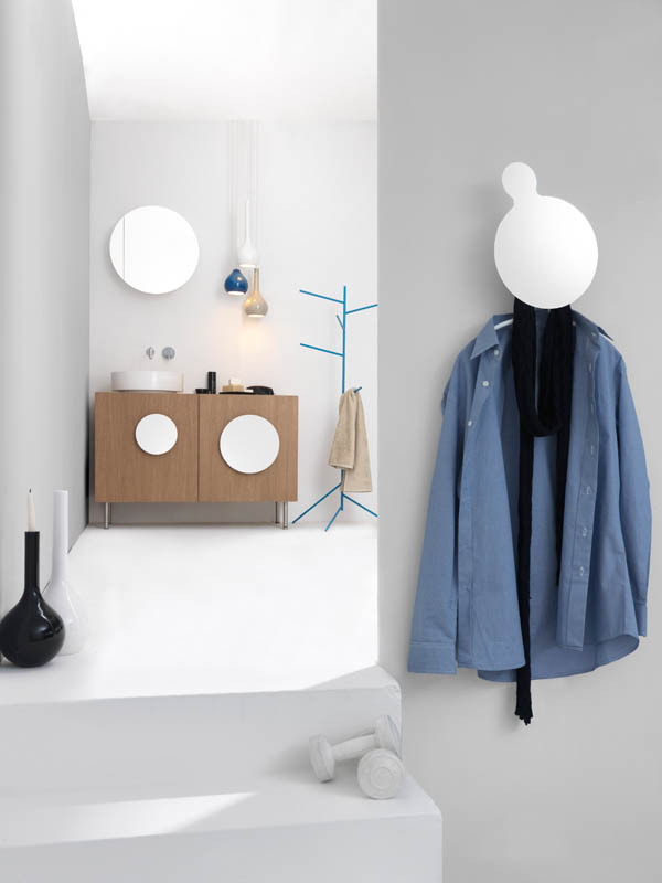Bold1 Modern Cabinet Decorative Blue Hanger-Modern Bathroom Cabinet-Round Mirror-Unique Pendant Lamp-Vase of Chandelier