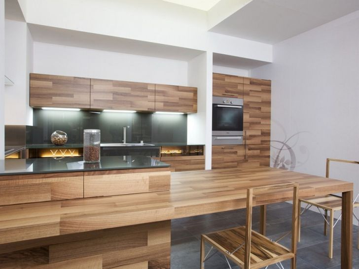 Kitchen Partes by Mateja Cukala Modern Cooking Area Design Made from Oak Veneer by Mateja Cukala