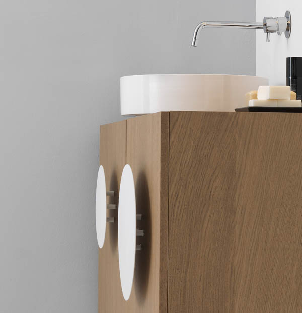 Bold1 Modern Cabinet Modern Wooden Cabinet Details with White Round Sing and Circular Doors Handle