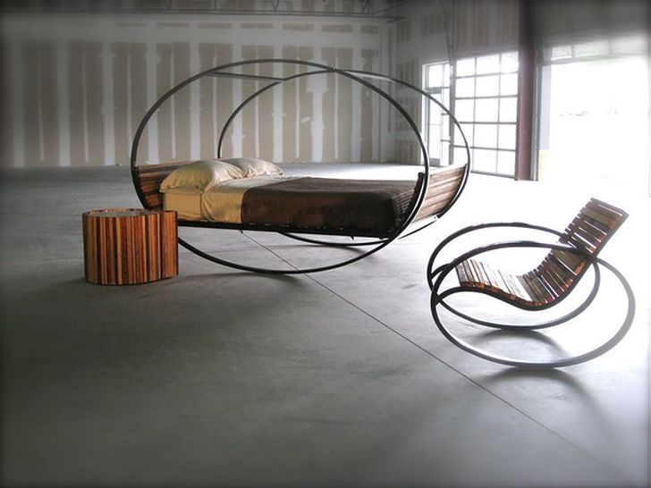 Mood Mood Rocking Bed and Rocking Chair with Carbon Steel Frame also Wood Base Finish