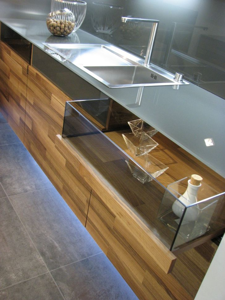 Kitchen Partes by Mateja Cukala Partes Kitchen Design with Glass Drawer and Stainless Sink