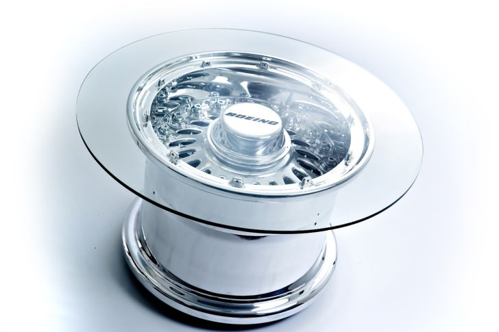 Boeing 777 Wheel Coffee Table Smooth Being Coffee Table Design with Round Glasstop