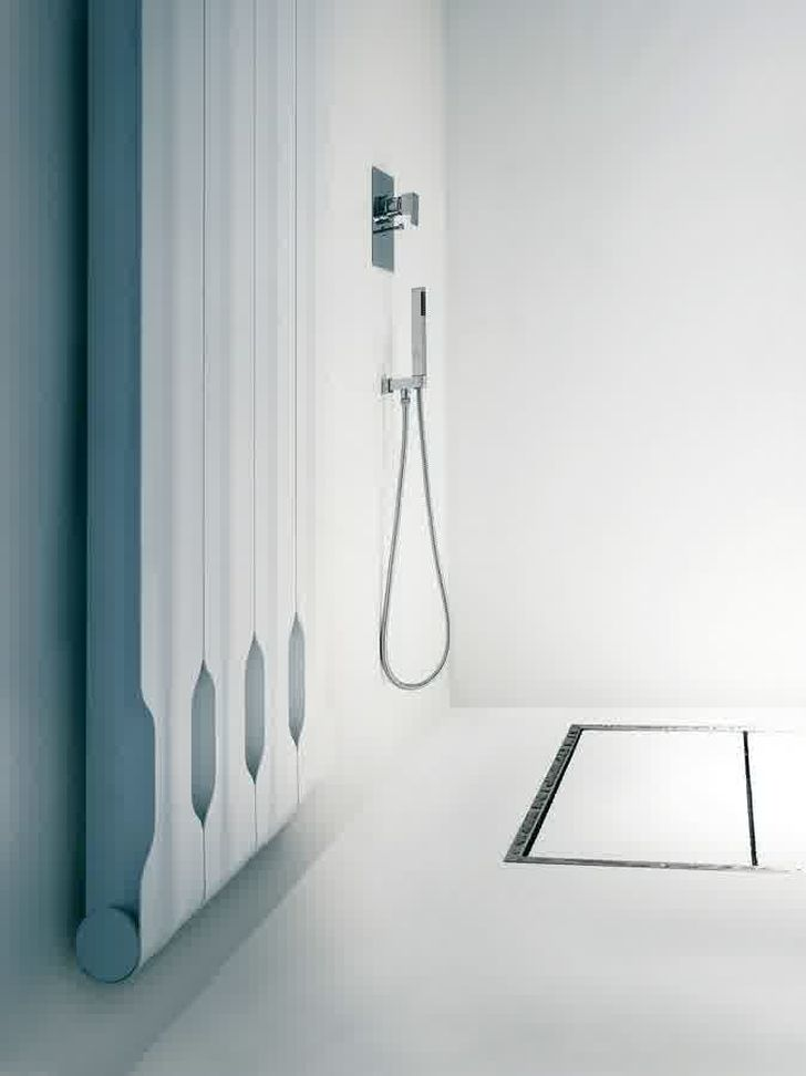 Aluminium Radiators in Agora Collection White Bathroom Radiator with Stainless Shower