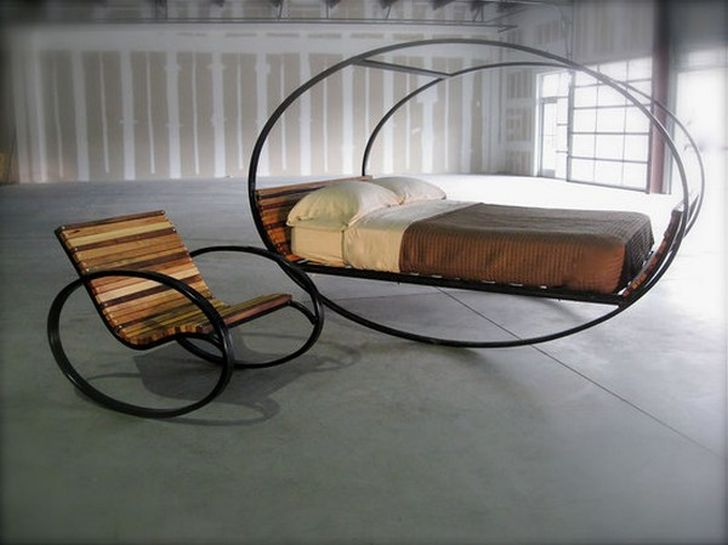Mood Rocking Bed Wood Base Finish Mood Rocking Bed also Rocking Chair with Carbon Steel Frame and White Pillow-Brown Blanket Bedroom