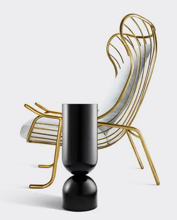 gold arpa chair lacquered steel