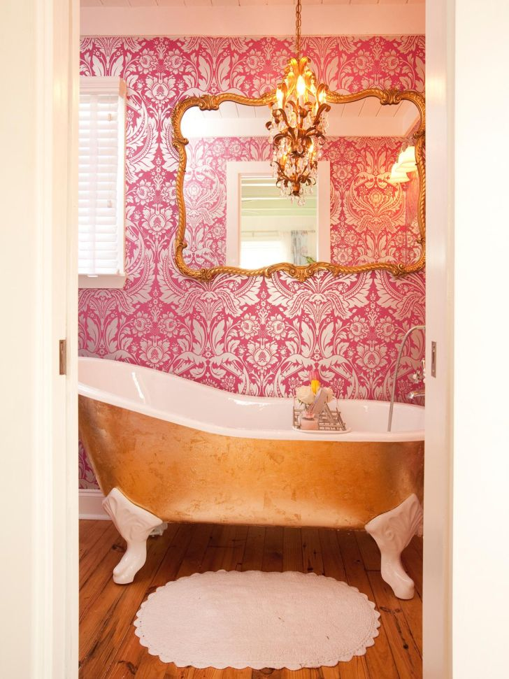 Bathroom Chandelier Lighting Bathroom Ceiling Light Fittings Over the Bathub with Huge Mirror and Decorative Wall Paint