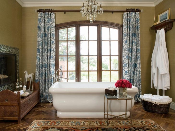 Bathroom Chandelier Lighting Classic Bathroom with Chandelier Lighting with Wooden Bench and Huge Mirror and Window