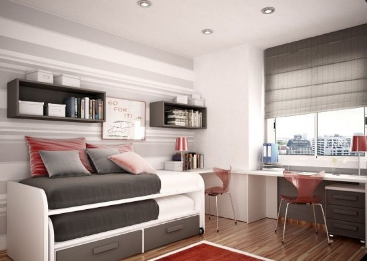 Decorate Small Bedroom Decorating Small Rooms with Low Ceilings with Wooden Bookshelf and Wooden Workdesk plus Natural Light