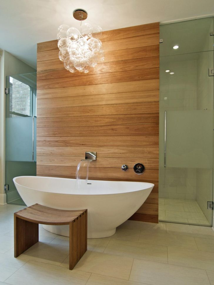 Bathroom Chandelier Lighting Decorative Bathroom Chandelier Lighting Over the Bathub with Wooden Wall and Wooden Chair