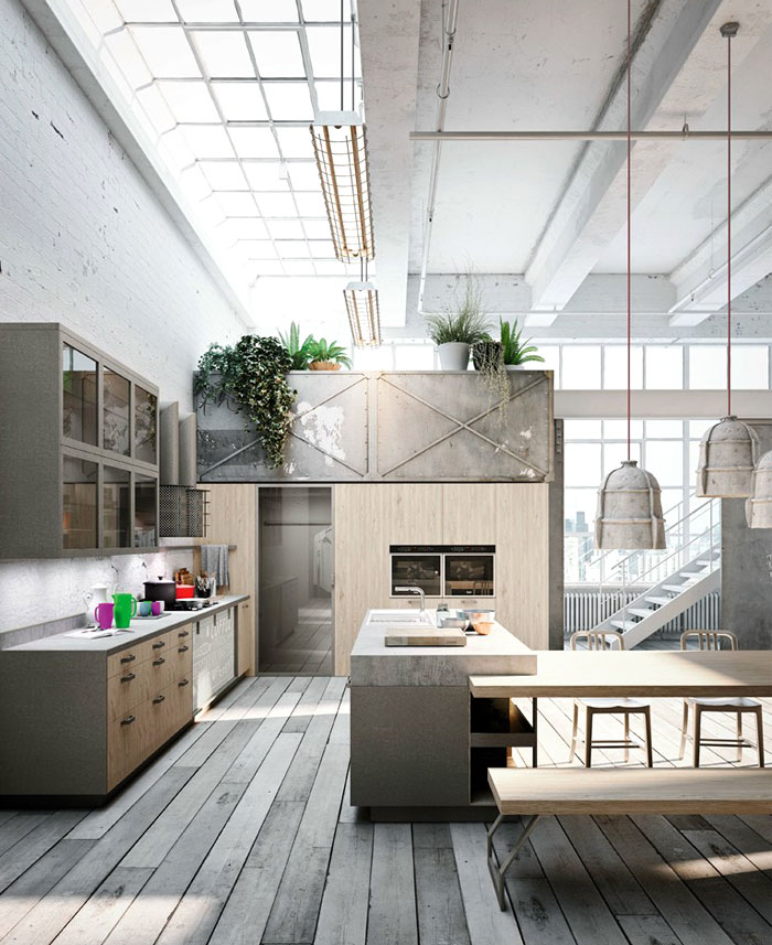 Modern Loft  Kitchen Design by Michele Marcon Elegant Loft Kitchen with Vintage Twist Industrial Decor
