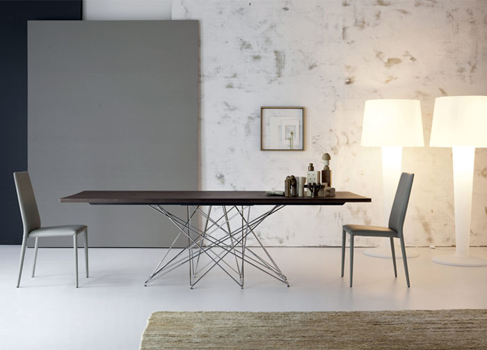 Bonaldo Table Concept Elegant Wooden Table Concept Combines with Steel also Decorative Items and Contemporary Floor Lamp