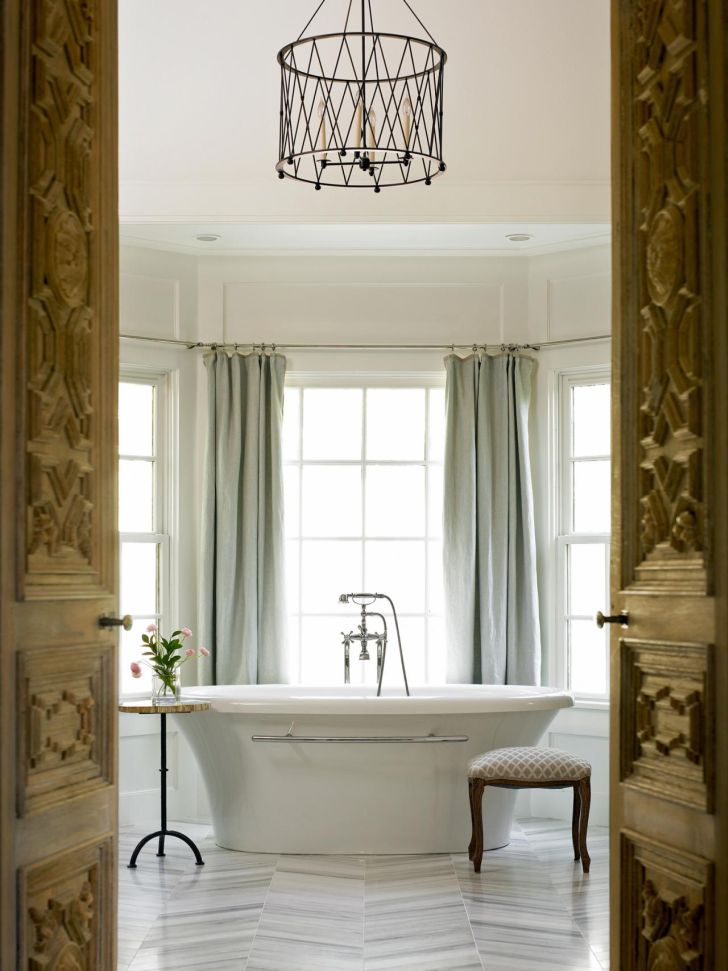 Bathroom Chandelier Lighting Master Bathroom Ideas with Decorative Chandelier Lighting and White Framed Windows