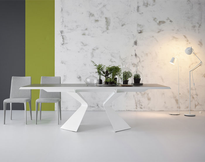 Bonaldo Table Concept Prora Fixed Table Design Designed by Mauro Lipparini with Bonsai Accessoried