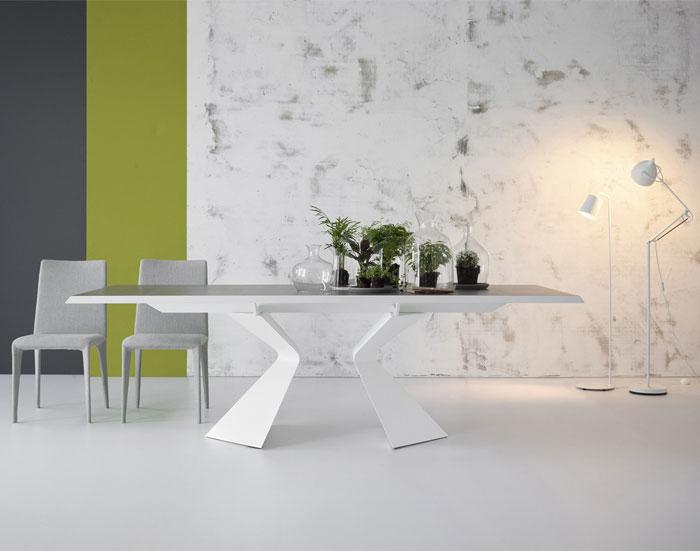 Bonaldo Table Concept Prora Fixed Table Design Designed by Mauro Lipparini with Bonsai Accessoried