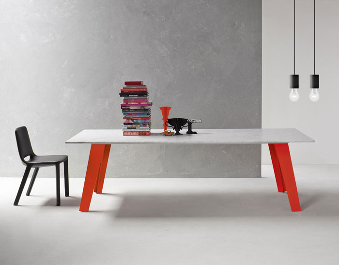 Bonaldo Table Concept Second Welded Table Design with Stack of Booksand Black Chair