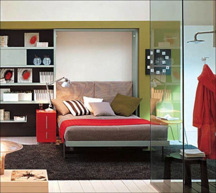 Decorate Small Bedroom Space Saving Teenage Bedroom Decorating Ideas with Glass Shower-Red Nightstnad-Dark Rug-Decorative Storage