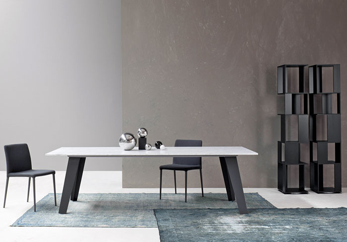 Bonaldo Table Concept Welded Table Design with Unique Ornaments and Black Wooden Bokshelf