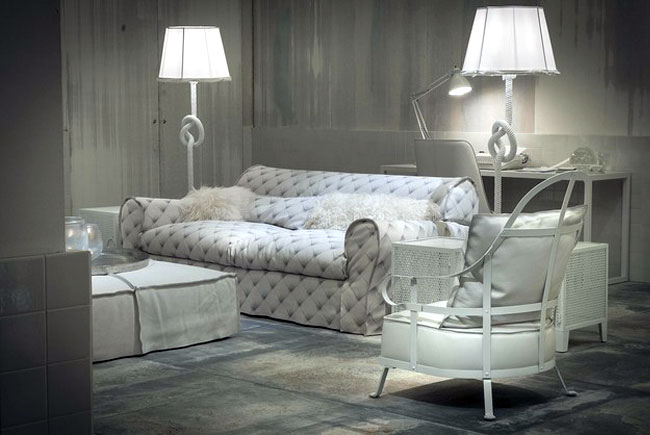 White Living Room Furniture White Baxter Furniture Leather Sofa with White Stainless Steel Frame