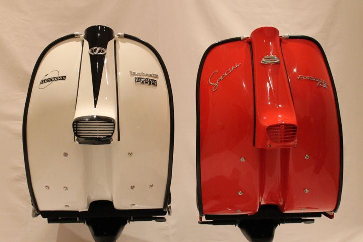 Lambretta ChairWhite and Red Lambreta Scooter Chair Side by Side