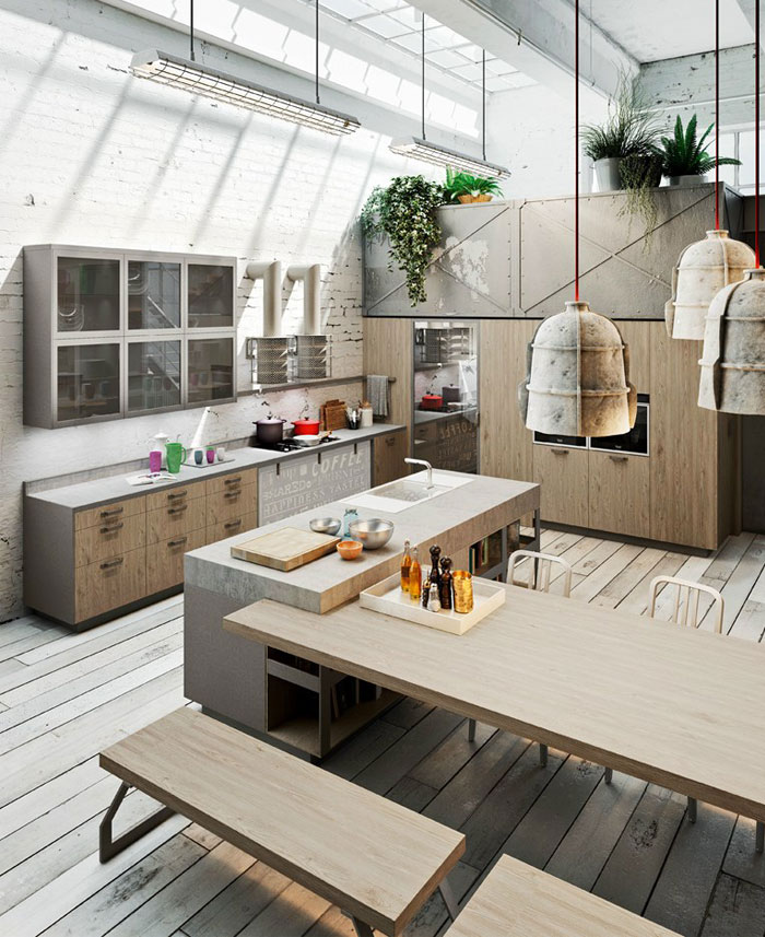Modern Loft  Kitchen Design by Michele Marcon Wooden Kitchen Table and Kitchen Cabinet with Cement and Stainless Steel Kitchen Countertop Design
