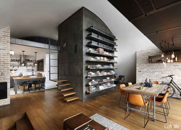 attic-apartment-with-custom-furniture-elegant-apartment-dining-room-with-leather-dining-chairs-wooden-flooring-stairs-and-wooden-dining-table-hanging-lamps