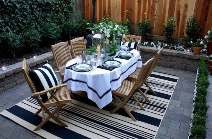 smart patio ideas elegant-wooden-patio-furniture-sets-with-striped-rug-and-dining-appliances