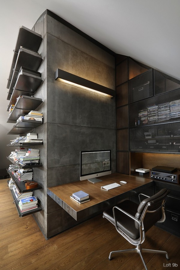 attic-apartment-with-custom-furniture-gorgeous-home-office-wall-mounted-table-four-legs-metalic-chair-