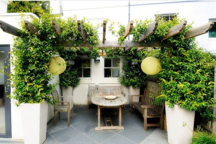 smart patio ideas old-wooden-patio-furniture-with-china-ball-lights