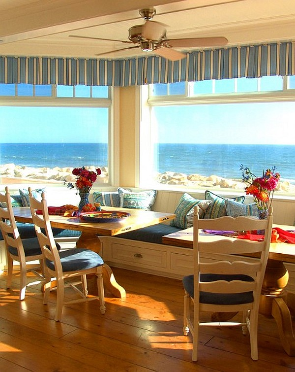 Breakfast Nook furniture santa-barbara-beach-house-colorful-breakfast-nook-decor-with-storage-cushioned-bench
