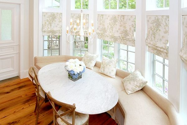 Breakfast Nook furniture spacious-bright-breakfast-nook-table-bay-window-decor