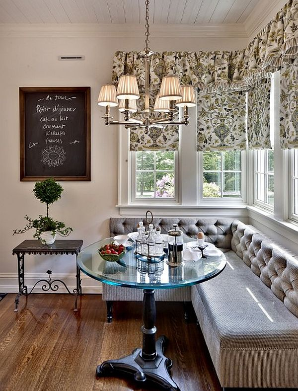 Breakfast Nook furniture traditional-dining-room-breakfast-nook-with-l-shaped-bench-and-raound-glass-table