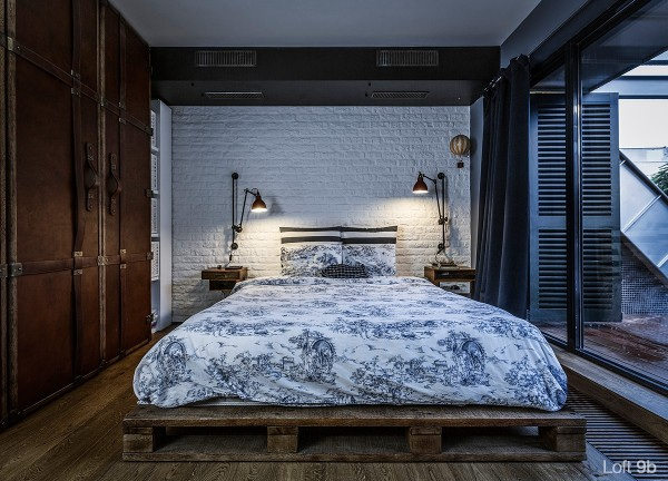 attic-apartment-with-custom-furniture-vintage-pallet-bed-wooden-floor-elegant-hanging-lamps