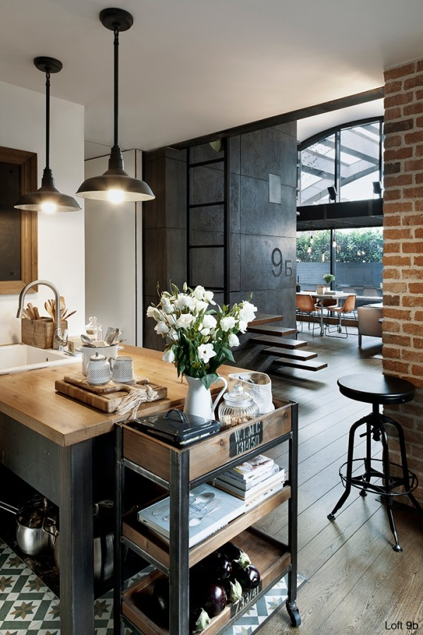 attic-apartment-with-custom-furniture-wooden-kitchen-theme-with-butcher-block-countertop