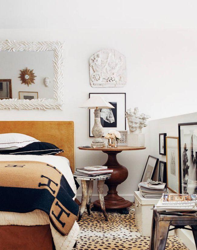 bedside-nightstands-decoration-ideas-Random Sculptural Art Object on Wooden Nightstand