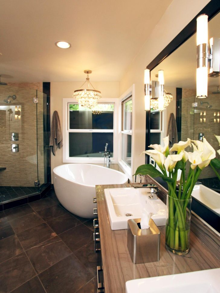 bathroom-chandelier-lighting-Round Bathroom Ceiling Light Over Bathub with Glass Wall Shower and Wooden Vanity