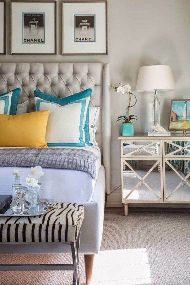 bedside-nightstands-decoration-ideas-Teal Colored Pot with Tall orchid on Nightstand