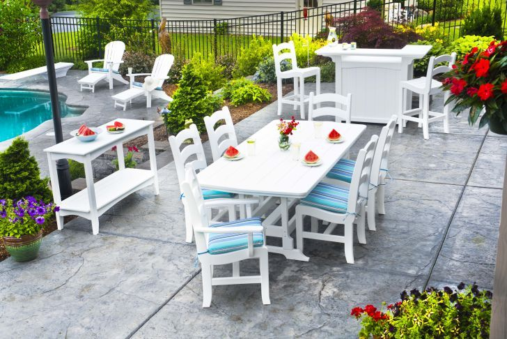 Polywood Patio Furniture-White Polywood Outdoor Table Set