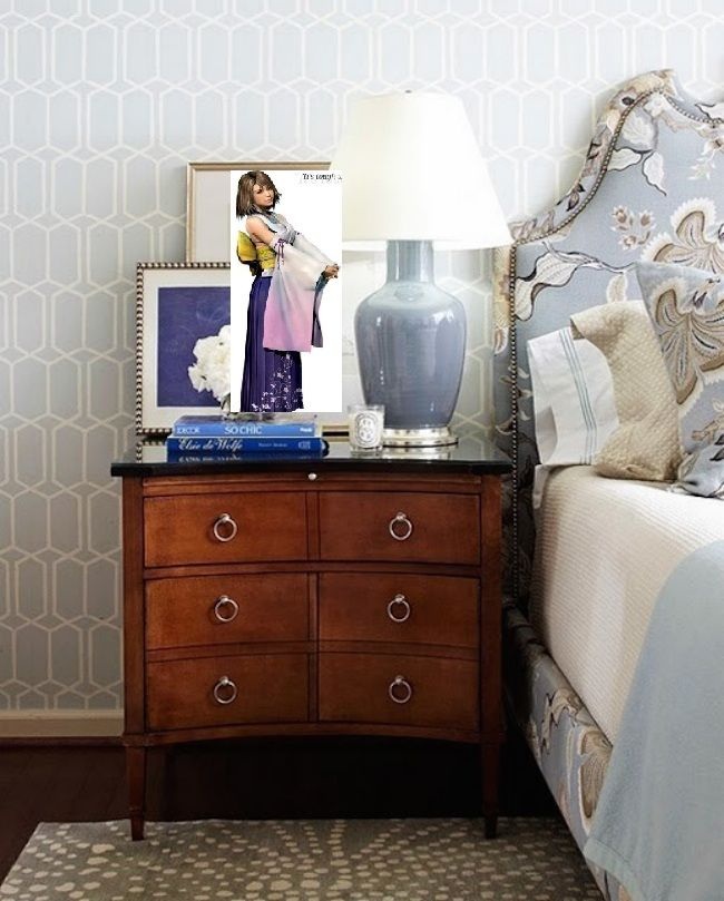 bedside-nightstands-decoration-ideas-Wooden Nightstand with Wall Art Painting