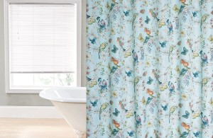 Cynthia Rowley Shower Curtain with Regal Home Collections and Botanical Bird Print Fabric Shower Curtain